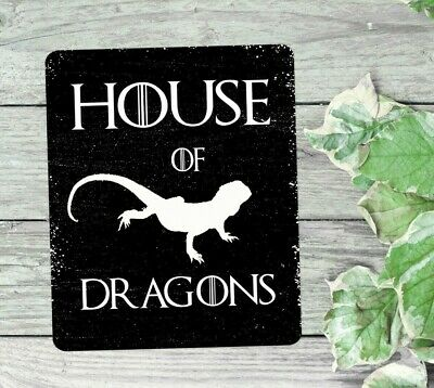 Bearded dragon house of dragons reptile hanging or fixed sign aluminium metal
