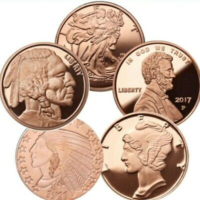 Lot of 5 - 1 oz Copper Rounds 5 Different Design Starter Pack
