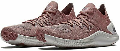 dc35bf0d1322 Nike Free TR Flyknit 3 LM Womens Training Shoes 8 Pink Mauve Metallic  Silver NEW
