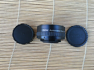 Pentax M42 Mount, Vivitar 2X Automatic Tele Converter Both Caps, Near Mint