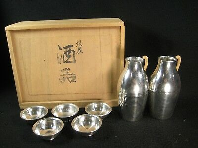 Vintage Japanese Set Of 7 Signed Pewter Sakazuki & Tokkuri Sake Cups & Flask