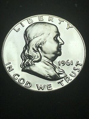 1961 PROOF 50C Franklin Half Dollar 90% Silver Coin Shown Free S/H in Holder