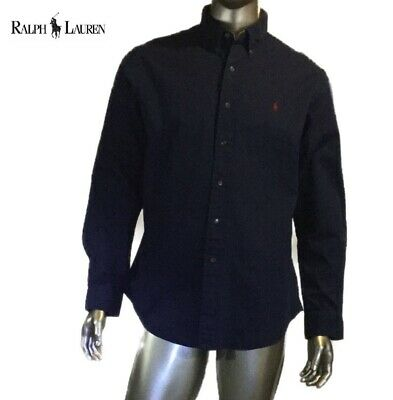 97aa05eabf3 Vintage Polo Ralph Lauren Button Shirt Elbow Patch Classic Fit Navy Blue XL