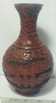 "Antique Chinese Figural Scenic Floral Carved Dark Red Cinnabar Lacquer 6.5"" Vase"