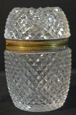 Antique Cut Crystal and Brass Box
