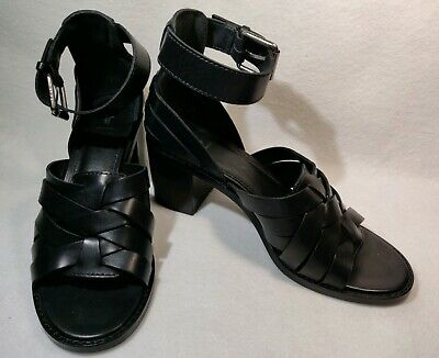 45a415141d011 FRYE Black Bianca Huarache Two-Piece Leather Heeled Sandal Discontinued  Size 6.5