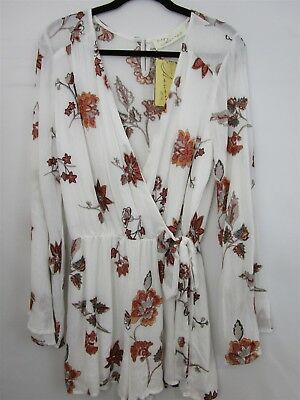 Vintage Havana Ivory Floral Print Embroidered Romper Size Small NEW 0262