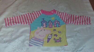 Debenhams Peppa Pig Swimming Top Pink 18-24 Months UPF40+ Excellent Condition