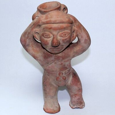 INAH Mexican Pottery Red Clay Statue Pre Colombian Accent Figure Reproduction