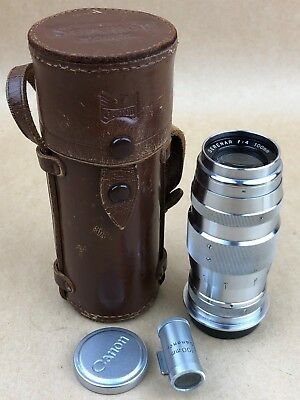 Canon RF 100mm F/4 Serenar Leica SM M39 Lens w/Caps ,Finder & Case #41700