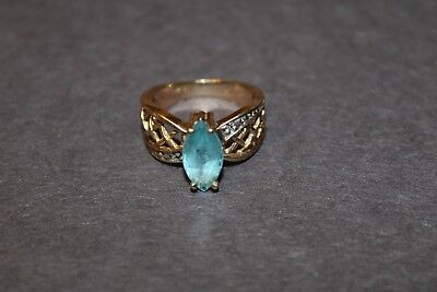 10K Gold Blue Topaz Ring Marquise Shaped Stone