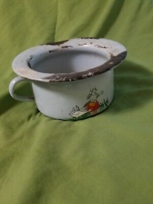 Children's Chamber Pot Enamel Vintage Retro Made in Germany Hand Painted