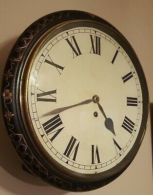 Rare Fusee Dial/Station/School Clock beautiful hand decorated