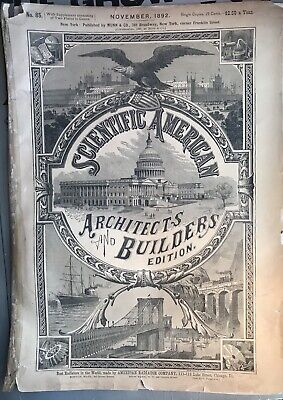 Scoentific American Architects And Builders Edition Nov 1892 Brooklyn Bridge