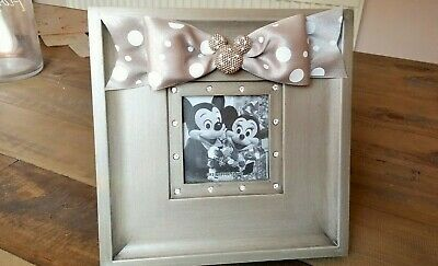 ** Disney silver grey Minnie Mouse 3x3 jewelled picture photo frame **