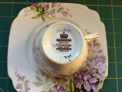 Royal Standard England Bone China Tea Cup and Square Plate - Wisteria