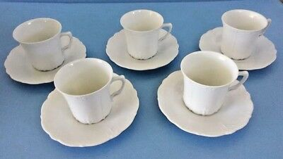 5 Sets Tirschenreuth BARONESSE WHITE  Cup and Saucer Sets