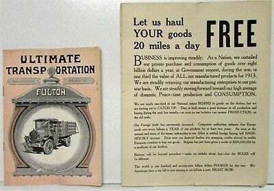 1919 Fulton Model C Ultimate Transportation Sales Brochure with Extra