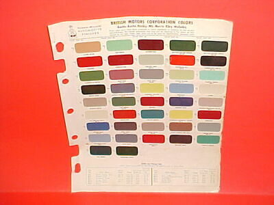 1950-1965 Austin Healey Sprite 100 3000 Mg Mga Morris Riley Wolseley Paint Chips