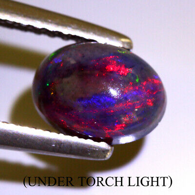 Black Opal 0.90ct 8x6mm Oval Cab 100%natural Aaa Rainbow Color Amazing!