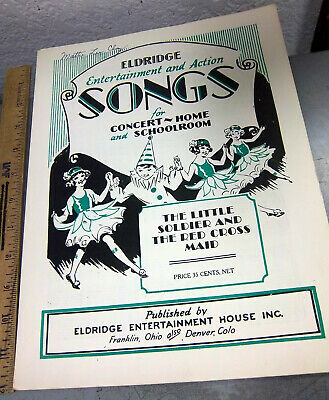 1908 Little Soldier & the red cross maid, Vintage Sheet Music, great graphics