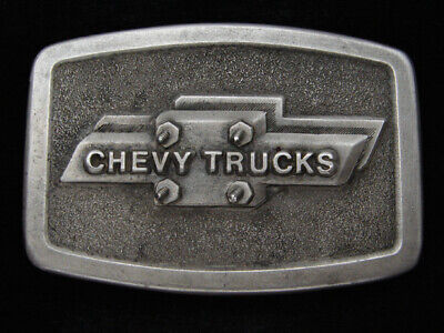 RA09159 VINTAGE 1970s **CHEVY TRUCKS** ADVERTISMENT PEWTER BELT BUCKLE