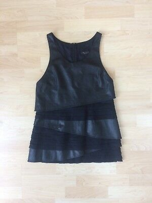Rag & Bone 'Marylebone' Black Leather Silk Tiered Micro-Mini Tunic Dress, Size 2
