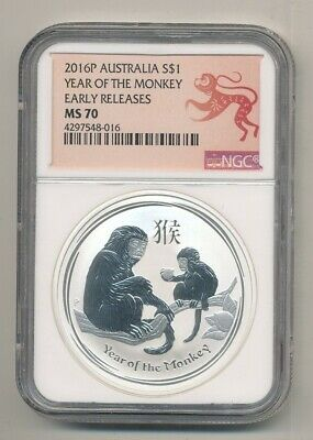 2016-P Australia Year of the Monkey 1 oz .999 NGC MS 70 Early Releases
