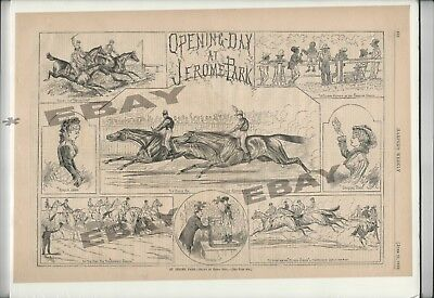 1879 Jerome Park Racetrack Horse Racing Harper's Weekly Cover Print Bronx NY