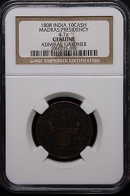 1808 Admiral Gardner SHIPWRECK COIN Indian 10 Cash Copper East India Company