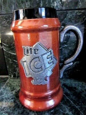 Rare 1990 s Miller Lite Maple Wood Stein ICE Beer Pewter Emblem Mug Ltd Ed