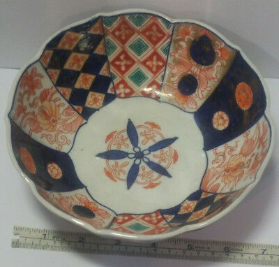 "Antique Imari Porcelain Scalloped Edge Footed Bowl. 3"" Tall 6.75"" Dia. 17.65 Oz."
