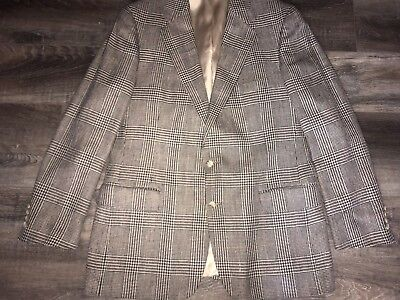 Polo University Club Ralph Lauren ~ Vtg Mens Suit Jacket Blazer Herringbone ~ 42