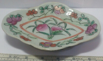 Chinese Antique Small Footed Dish Hand Painted Floral & Peaches Design.