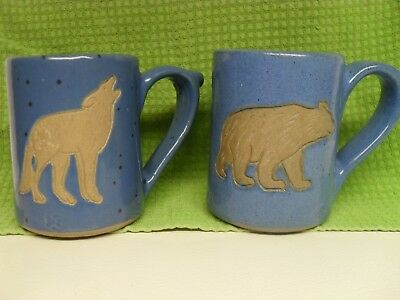 Collection Circle Pottery Bear And Wolf Coffee Cups Bear Paw Mark
