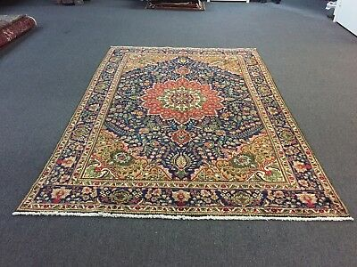 On Sale Semi Antique Hand Knotted Persian Floral Rug Navy Carpet 6'8x9'11