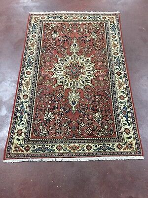 """On Sale Beautiful Antique Hand Knotted Persian Area Rug Floral Carpet 3'2""""x4'11"""