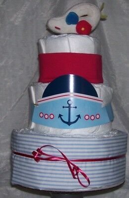 Magnificent Boy Diapering 3 Tier Diaper Cake Nautical Ship Ahoy Baby Shower Funny Birthday Cards Online Fluifree Goldxyz