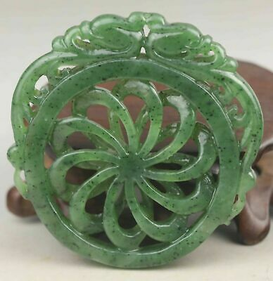 Chinese old natural hetian green jade hand-carved flower pendant 2.1 inch 055