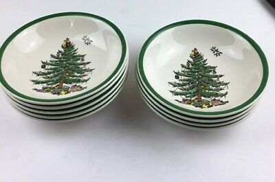 Spode Christmas Tree Green Trim S3324-A3 Coupe Cereal Bowl England New @@
