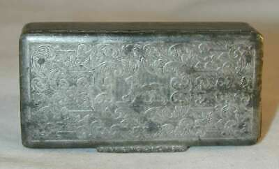 Antique Pewter Snuffbox Stamped Prancing Retriever Dog