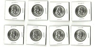 Lot of 8 brilliant uncirculated Franklin half dollars- 54d, 58p,d, 59d, + more