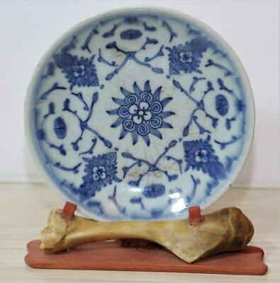 Rare Antique Chinese 19thC Qing Blue and White Folk kiln Porcelain Plate