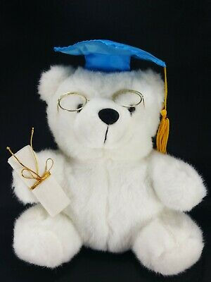 Girls//Boys Graduation White Bear with Cap Diploma /& Solid Brass Picture Frame