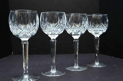 "Waterford Lismore Crystal Wine Goblets Hocks Glasses stems 7.5"" Ireland Set 4"