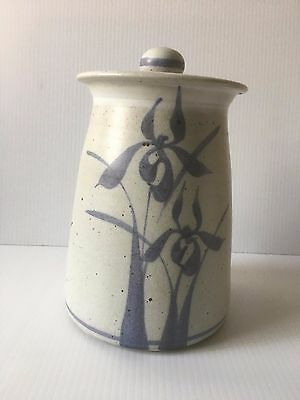 Large Stoneware Canister Jar Hand Thrown Signed Studio Pottery Blue Iris 10""