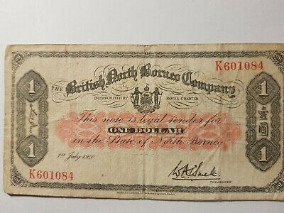 British North Borneo. One Dollar, K601084, 1-7-1940