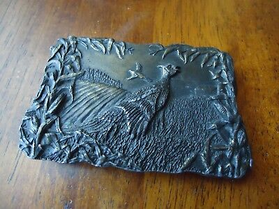 Belt Buckle Pheasant 1977 Bergamot Hunter Wildlife approx. 3.5 x 2.25 in (K)