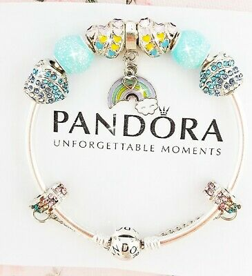 Authentic Pandora Bracelet Silver Bangle with Love Rainbow European Charms