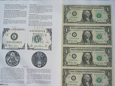 2-1+1: 1981,4 US Bill $1 In 1 Uncut Sheet & Infor. Sheet +1 Old One Cent US COIN